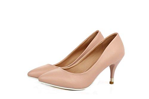 Toe Shoes Heels Pumps Kitten Women's Microfiber Pointed VogueZone009 Pink Cw0RtFqw
