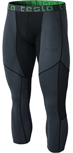 Cool Mesh Capri - TM-MUC78-CHK_Large Tesla Men's Mesh-Panel Compression 3/4 Capri Baselayer Cool Dry Sports Tights MUC78