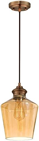 Westinghouse Lighting 6205300 One-Light Adjustable Vintage Mini Pendant with Amber Glass, Copper