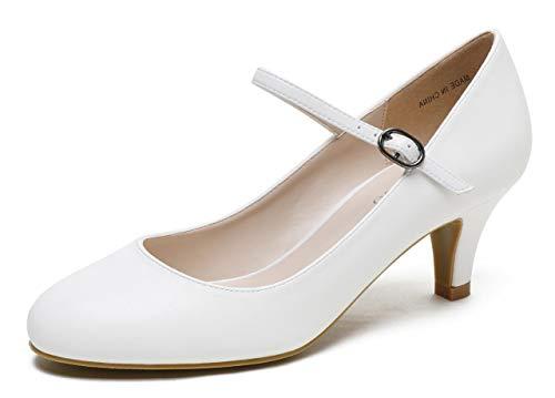 (CAMSSOO Women's Closed Toe Low Mid Heel Ankle Strap Dress Pump Shoes White Matt Soft PU Size US9 EU41)