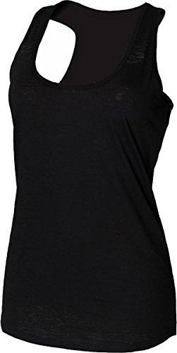 New para mujer con SF para mujer cuello redondo sin mangas T-camiseta de manga corta de algodón de costura para chalecos de costura para camisetas de mujer Slub negro
