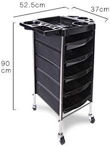 サロントロリーローリングカート 髪や美容ツールカートパーマ棚 スタイリスト美容院 (Color : Black, Size : 90x52.5x37cm)
