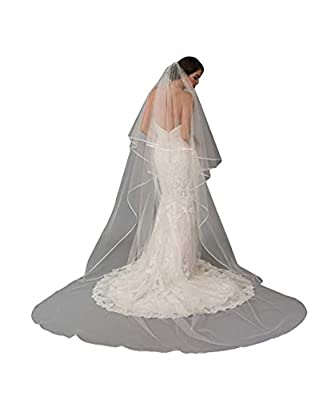 Fenghuavip Drop Veil 2 Tier Cathedral Bridal Wedding Veil Blusher with Comb
