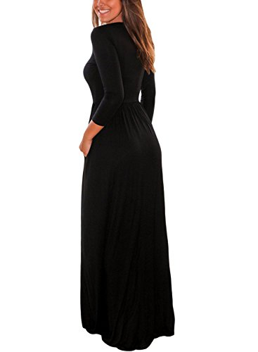 Maxi Pockets Womens with 4 Dress Casual Loose Black Sleeve Dearlovers Plain 3 xp0a6qUwUf