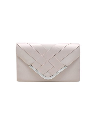 Criss Cross Envelope Structured Flap Clutch La Regale Satin Flap Clutch