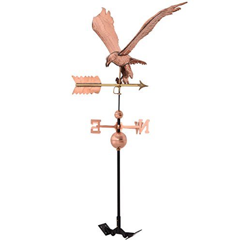 Tangkula Weathervane Roof Mounted Outdoor Polished Copper Wind Weather Direction with Eagle Ornament