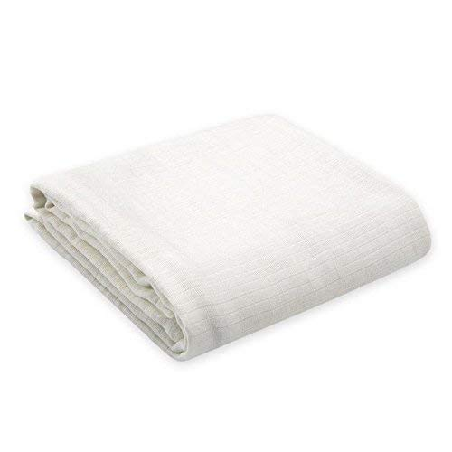 Oliver & Rain Baby Swaddle Blanket - Newborn 100% Organic Cotton Solid White Muslin Swaddle Blanket