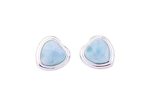 (Larimar Stud Earrings Heart Shaped 14K White Gold Plated Silver Women Jewelry Handmade Natural Genuine Blue Classic Gemstones Earrings)