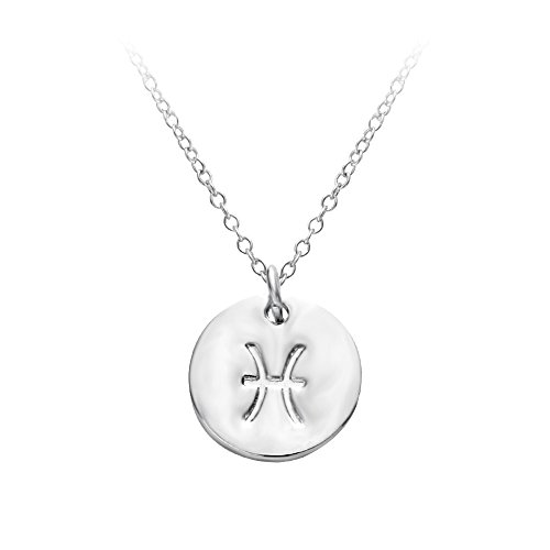 SENFAI 12 Zodiac Sign Circle Tag Constellation Pendant Necklace Elegant Silver Color Horoscope Astrology Disc Charm Necklace (Pisces) -