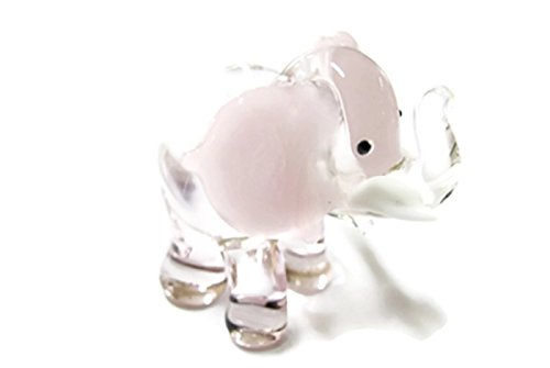Dollhouse Miniatures Hand Blown Art Pink Elephant FIGURINE Animals Decor - Lucky Elephant Art Glass Figurine