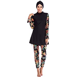 Ababalaya Womens' Muslim Islamic Swimsuit 2 Pieces Full Cover Hijab Burkini Swimwear