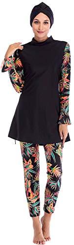 Ababalaya Womens Muslim Islamic Long Sleeve Tropical Print Burkini Full Cover Hijab Swimsuit,Black,Tag S = US Size 2-4 (Print Arabic)