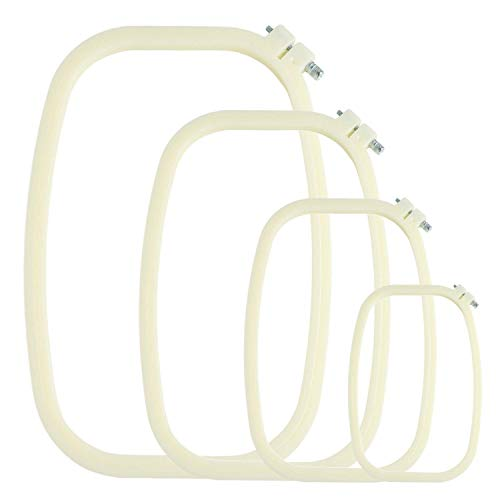 - eGoodn Square Embroidery Hoops Cross Stitch Hoop Set ABS Plastic Creamy-White Pack of 4 Sizes 6