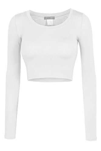 LE3NO Womens Fitted Long Sleeve Crop Top with Stretch, L3NWT1073_WHITE, Small,L3NWT1073_WHITE,Small (Gretchen Weiners Costume)