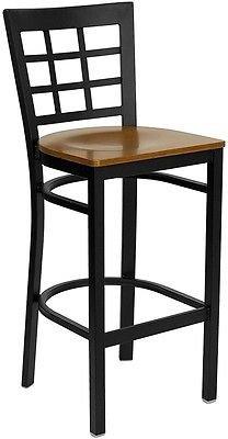 Window Back Metal Restaurant Bar Stool - Cherry Wood Seat