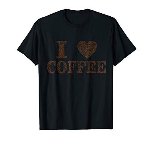 I Love Coffee t-shirt Heart shaped Coffee Beans Tasty Drink -