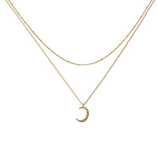 Befettly Crescent Moon Layered Necklace 14K Gold Fill Dainty Hammered Cute Moon Phase Beads Chain Layering Necklace CK10-Moon - Moon Gold Pendant Crescent