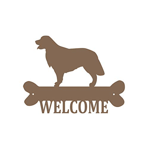 - Golden Retriever Steel Laser Cut Wall Art with Welcome Script in a Rich Bronze Finish