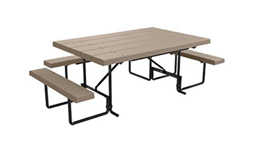 Kirby Built Products ADA Compliant 6 ft. Plastic Picnic Table - Seats 8 People (Desert Tan)