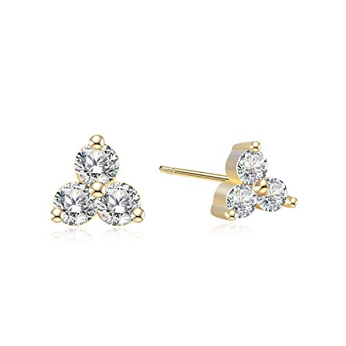 Simulated Diamond Cubic Zirconia Trio Studs - 18k Gold over Sterling Silver 3 Stone Cluster CZ Earrings