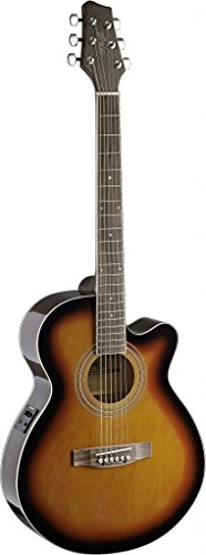 Stagg SA40MJCFI-BS Mini Jumbo Cutaway Acoustic-Electric Guitar with FISHMAN Preamp Electronics - Brown Sunburst