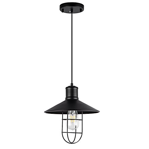 - SHENGYADI Industrial Mini Wire Pendant Light Vintage Metal Cage Hanging Lamp 1-Light Black Farmhouse Accent Lighting Fixture for Kitchen Island Bedroom Loft Porch Bar Shop