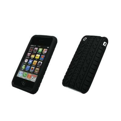 Premium Black Tire Tread Design Silicone Gel Skin Cover Case for Apple iPhone 3G 8GB 16GB / 3G S 16GB 32GB [Accessory Export Brand (3g Gel Skin)