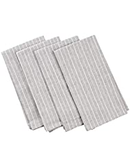 MEEMA Cloth Napkins Set of 4 | Eco Friendly Upcycled Denim and Cotton Napkins | Grey Striped | Everyday Dinner Napkins Cloth, Farmhouse Dining Table, Wedding Napkins, Zero Waste Home