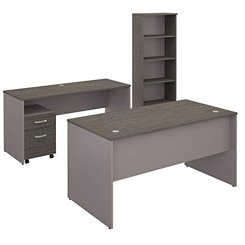 - Bush Furniture Commerce 60W Office Desk with Credenza, Mobile File Cabinet and Bookcase in Cocoa and Pewter