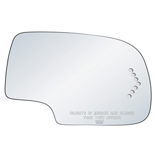 exactafit 8720SR Replacement Mirror Glass w/ Signal Cut-Out fits Passenger's Right Hand RH Side GM Cadillac Escalade Chevy Avalanche Silverado Suburban Tahoe GMC Sierra Yukon Trucks SUV by Rugged TUFF