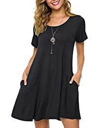 Women's Loose Fit Casual Swing T-Shirt Dress with Pockets