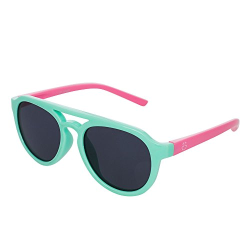 Kids Flexible Rubber Sunglasses-UV Protection and Polarized Lenses for Kids, Toddlers, Boys and Girls (Turquoise & Pink)