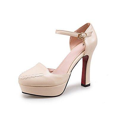 Talones de las mujeres Zapatos Primavera Verano Otoño Invierno Club de tul de cuero banquete de boda y vestido de noche de tacón grueso Hebilla Negro Rojo Beige Red