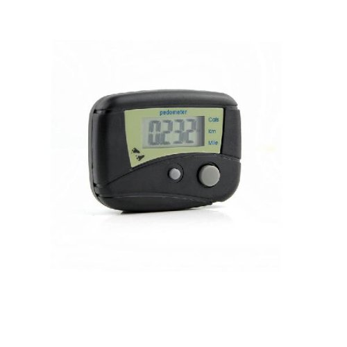 LCD Pedometer Step Calorie Counter Walking Distance(Black) - Kilometer Distance Counter