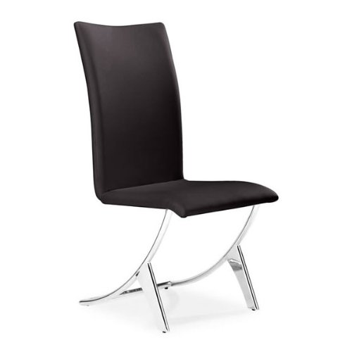 Delfin Leatherette Dining Chairs in Espresso - Set of 2