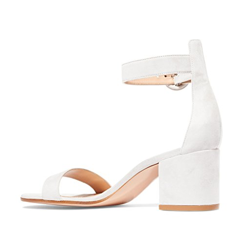 Strap Pumps Basic Suede 4 Size US Open White Ankle Toe 15 Block FSJ Women Sandals Heels Faux Pw5vqv