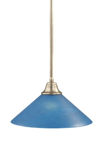 Toltec Lighting 26-BN-415 Stem Pendant Light Brushed Nickel Finish with Blue Italian Glass, 16-Inch