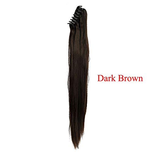 (Synthetic Women Claw On Ponytail Clip In Hair Extensions Curly Style Ponytail Hair Piece Black Brown Blonde Hairstyles,Dark Brown-S,22Inches )