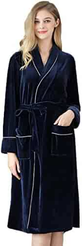Dainzuy Womens Fleece Robes, Soft and Warm Fleece Bathrobe Thick Kimono Robe for Womens Winter Housecoat with Belts