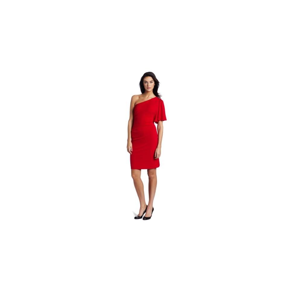 Calvin Klein Womens Flutter One Shoulder Dress