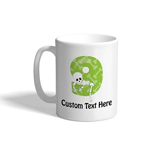 Custom Funny Coffee Mug Coffee Cup Halloween Number 9 White Ceramic Tea Cup 11 Ounces Personalized Text Here -