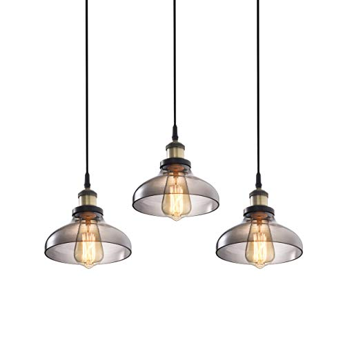 Pack of 3, 1-Light Pendant Lighting Glass, Modern Glass Shade Adjustable Kitchen Island Deco Fixture (Bulb Not Included)