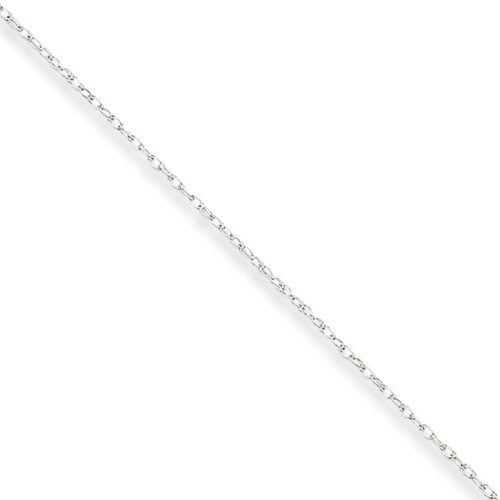 0.7mm, 14k White Gold, Cable Rope Chain Necklace, 16 Inch