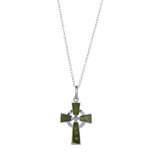 Cross Marble Connemara (Celtic Cross Pendant, Sterling Silver Connemara Marble)