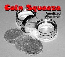 Coin Squeeze Anodized Aluminum Penetration Magic Trick