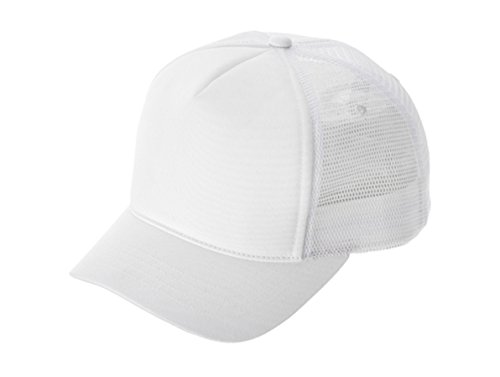 Short Bill Trucker Cap - G Summer Fashion Mesh Trucker Cap W/short Bill (White)