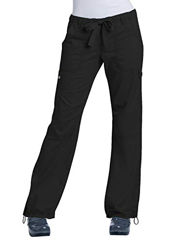 KOI Women's Lindsey Ultra Comfortable Cargo Style Scrub Pants (Tall Sizes), Black, X-Large