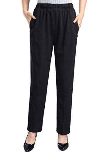 Soojun Womens Stretch Knit Pants Pull On Pants with Elastic Waist, Black, 12