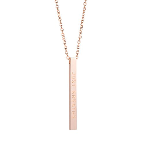 Joycuff Yoga Gifts Girls Personalized Vertical Bar Necklaces Rose Gold Plated Stainless Steel Pendant Jewelry Gift Her Engraved Just Breahte ()