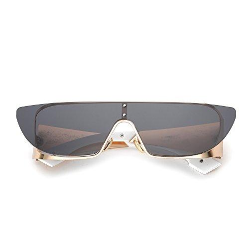 LANKUO Square Rimless Sunglasses Women's Personality Colorful Full Frame Siamese Polarized Sunglasses (golden/gray, - Branded Rimless Frames